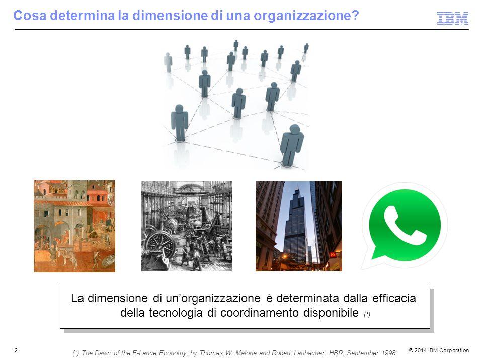 © 2014 IBM Corporation2 Cosa determina la dimensione di una organizzazione.