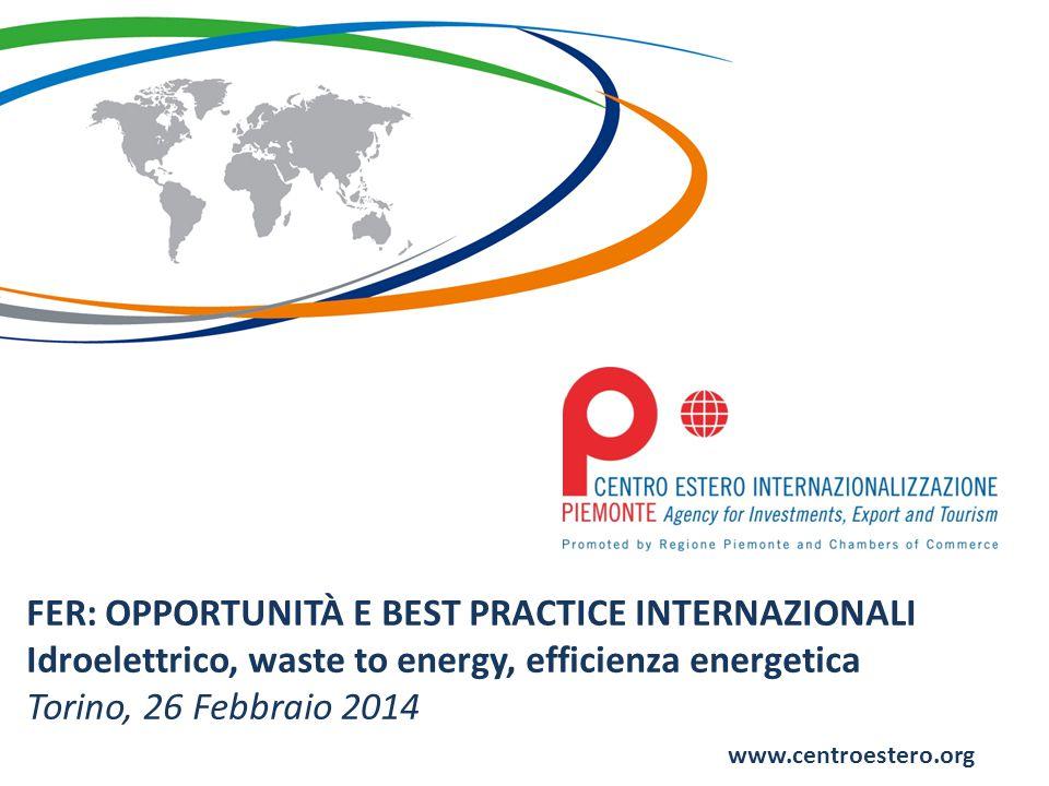 www.centroestero.org FER: OPPORTUNITÀ E BEST PRACTICE INTERNAZIONALI Idroelettrico, waste to energy, efficienza energetica Torino, 26 Febbraio 2014