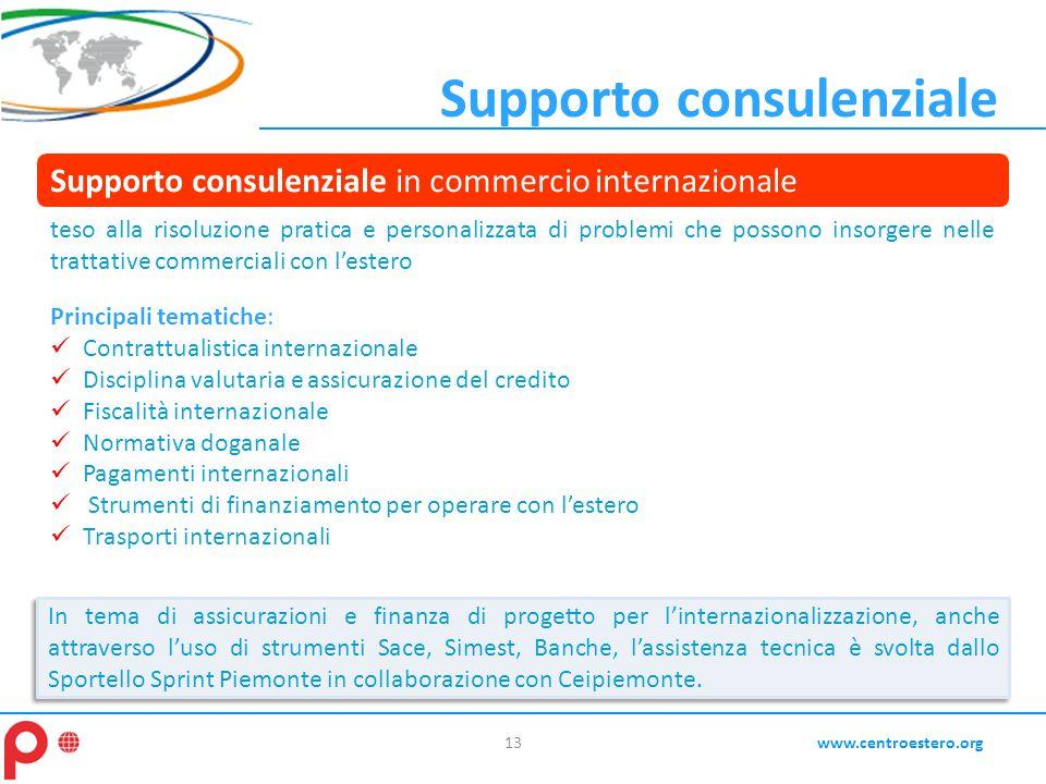 13www.centroestero.org In tema di assicurazioni e finanza di progetto per l'internazionalizzazione, anche attraverso l'uso di strumenti Sace, Simest,