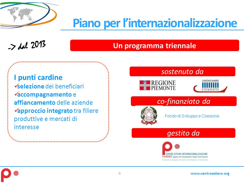6www.centroestero.org Piano per l'internazionalizzazione gestito da I punti cardine selezione dei beneficiari accompagnamento e affiancamento delle az