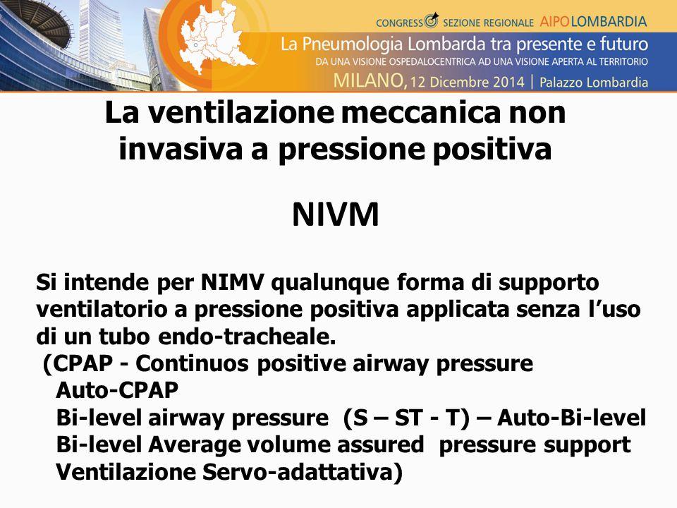 La ventilazione meccanica non invasiva a pressione positiva NIVM Si intende per NIMV qualunque forma di supporto ventilatorio a pressione positiva applicata senza l'uso di un tubo endo-tracheale.