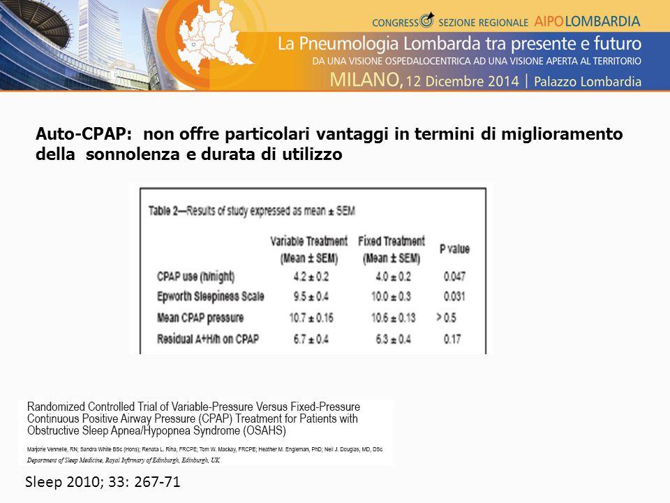 Auto-CPAP: non offre particolari vantaggi in termini di miglioramento della sonnolenza e durata di utilizzo Sleep 2010; 33: 267-71