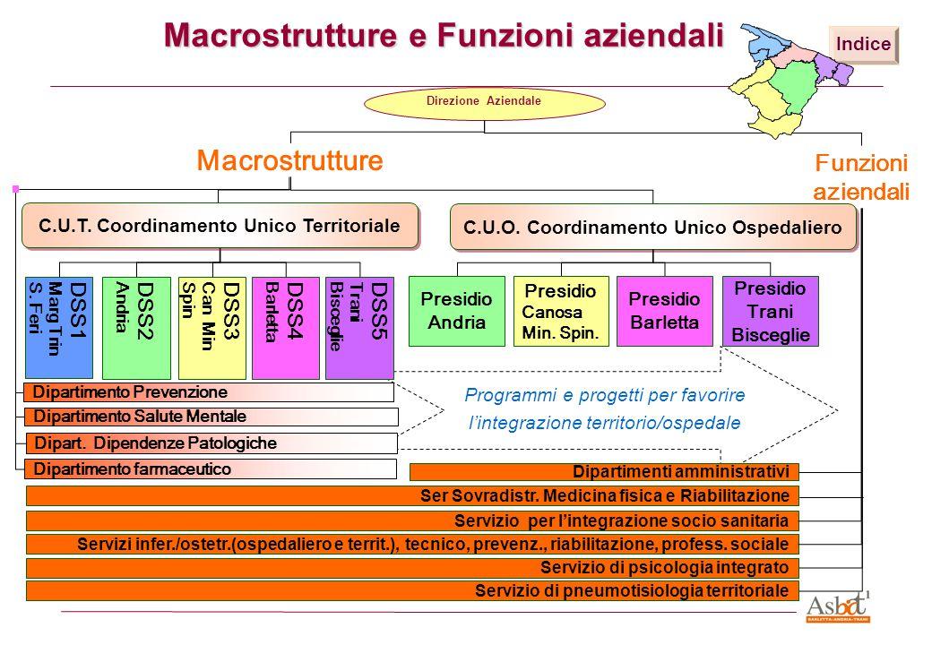 Programmi e progetti per favorire l'integrazione territorio/ospedale Macrostrutture e Funzioni aziendali Dipart. Dipendenze Patologiche Dipartimento f