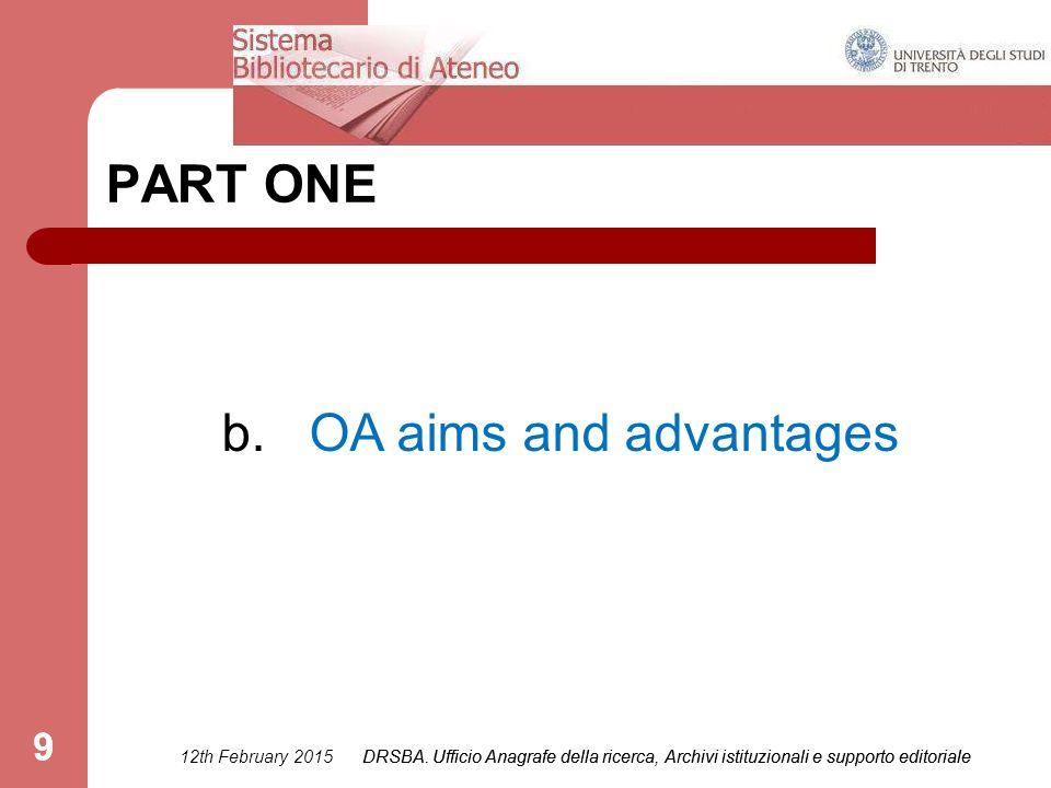 DRSBA.Ufficio Anagrafe della ricerca, Archivi istituzionali e supporto editoriale 9 PART ONE b.