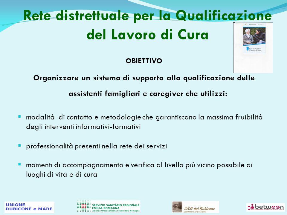 Rete distrettuale per la Qualificazione del Lavoro di Cura OBIETTIVO Organizzare un sistema di supporto alla qualificazione delle assistenti famigliar