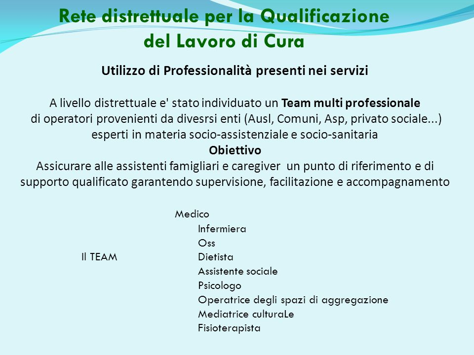 Rete distrettuale per la Qualificazione del Lavoro di Cura Utilizzo di Professionalità presenti nei servizi A livello distrettuale e' stato individuat