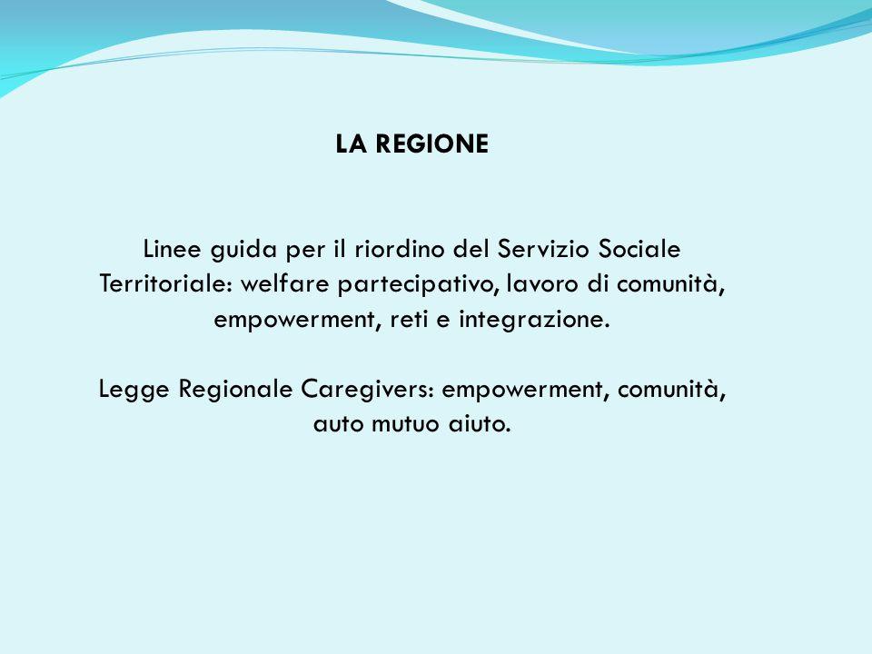 LA REGIONE Linee guida per il riordino del Servizio Sociale Territoriale: welfare partecipativo, lavoro di comunità, empowerment, reti e integrazione.