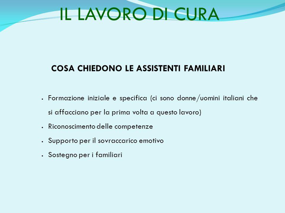 IL LAVORO DI CURA COSA CHIEDONO LE ASSISTENTI FAMILIARI  Formazione iniziale e specifica (ci sono donne/uomini italiani che si affacciano per la prim