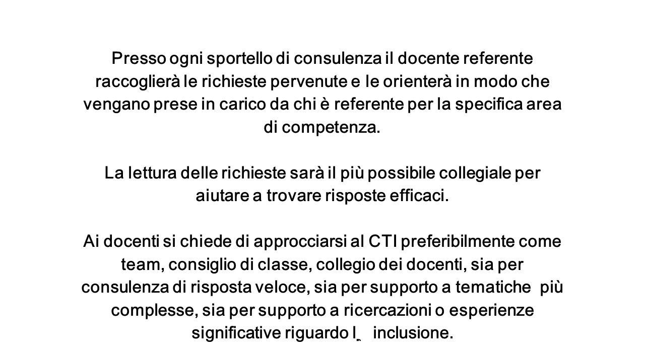 Presso ogni sportello di consulenza il docente referente raccoglierà le richieste pervenute e le orienterà in modo che vengano prese in carico da chi