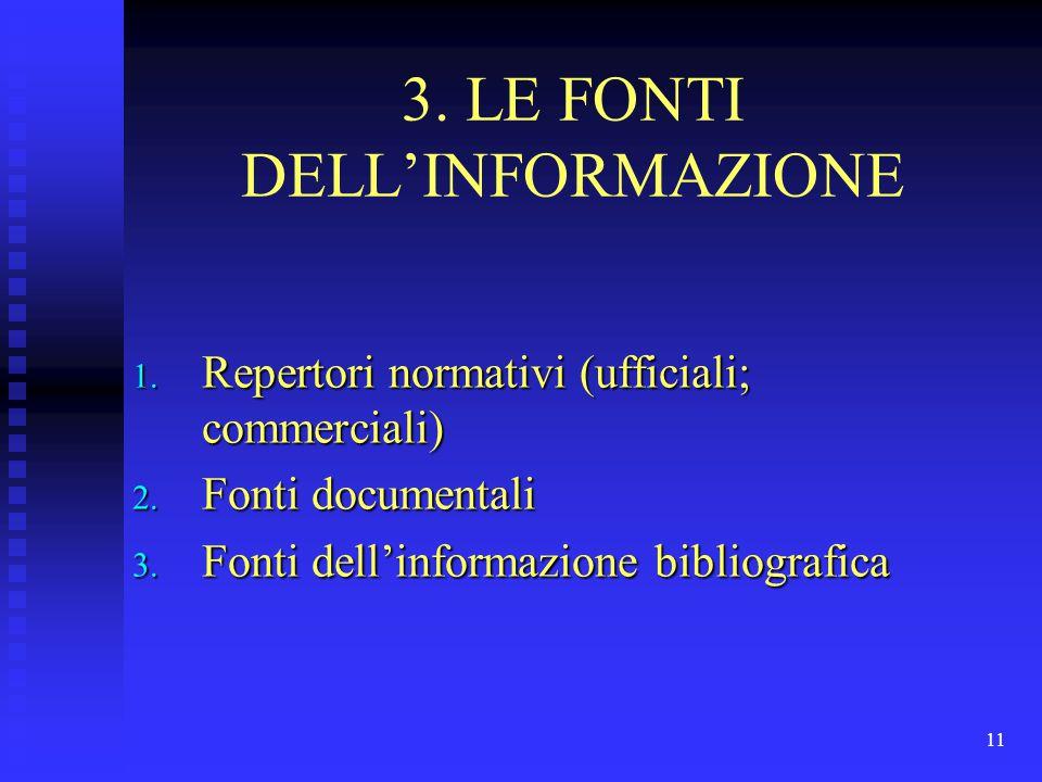 11 3. LE FONTI DELL'INFORMAZIONE 1. Repertori normativi (ufficiali; commerciali) 2. Fonti documentali 3. Fonti dell'informazione bibliografica