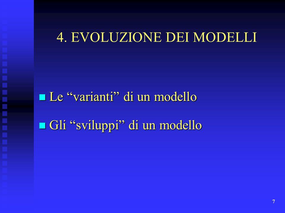 """7 4. EVOLUZIONE DEI MODELLI n Le """"varianti"""" di un modello n Gli """"sviluppi"""" di un modello"""