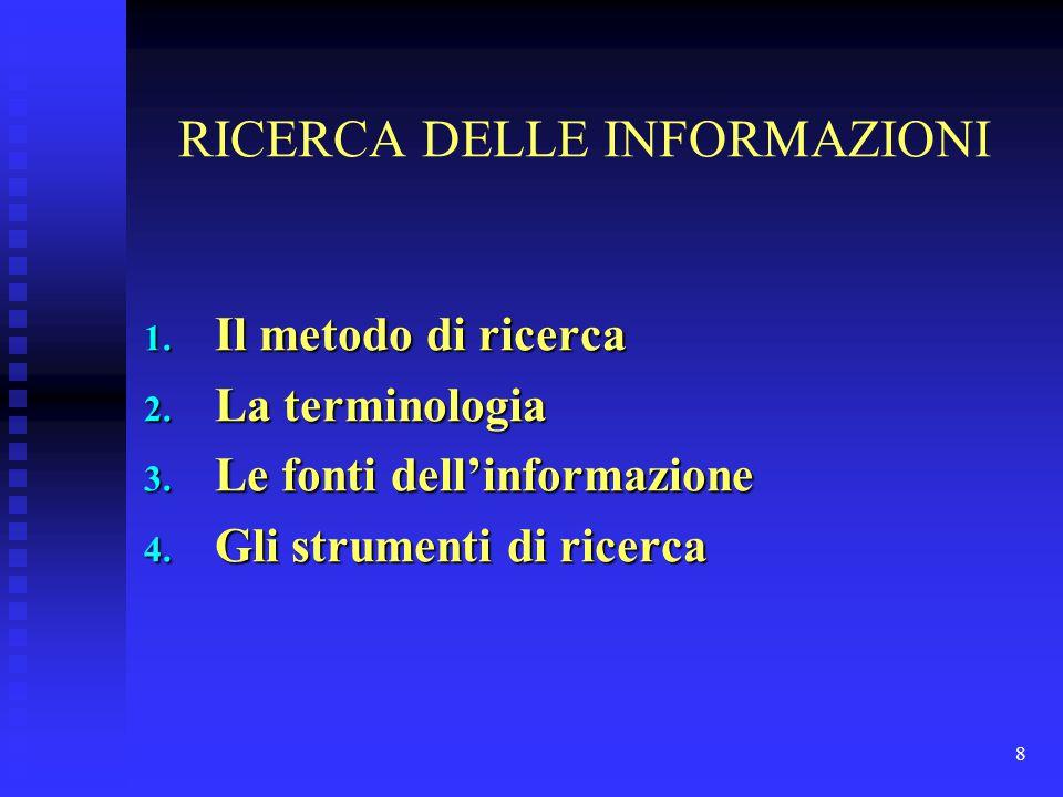 8 RICERCA DELLE INFORMAZIONI 1. Il metodo di ricerca 2. La terminologia 3. Le fonti dell'informazione 4. Gli strumenti di ricerca