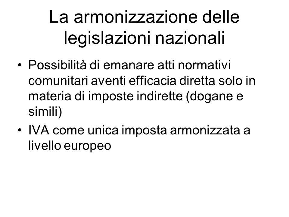 La armonizzazione delle legislazioni nazionali Possibilità di emanare atti normativi comunitari aventi efficacia diretta solo in materia di imposte indirette (dogane e simili) IVA come unica imposta armonizzata a livello europeo