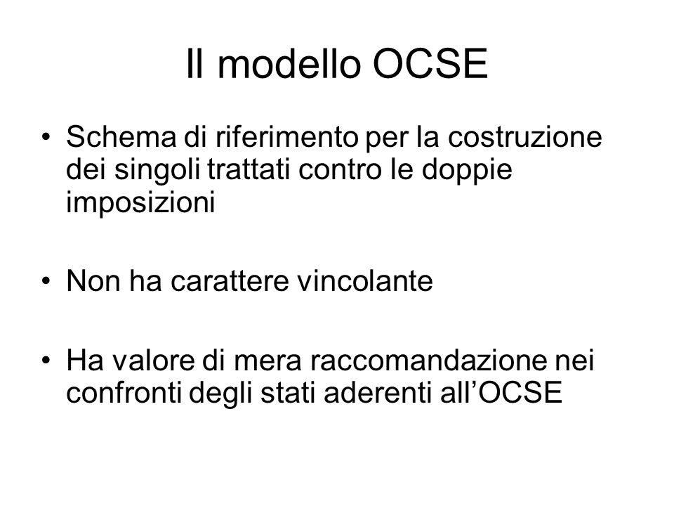 Il modello OCSE Schema di riferimento per la costruzione dei singoli trattati contro le doppie imposizioni Non ha carattere vincolante Ha valore di mera raccomandazione nei confronti degli stati aderenti all'OCSE