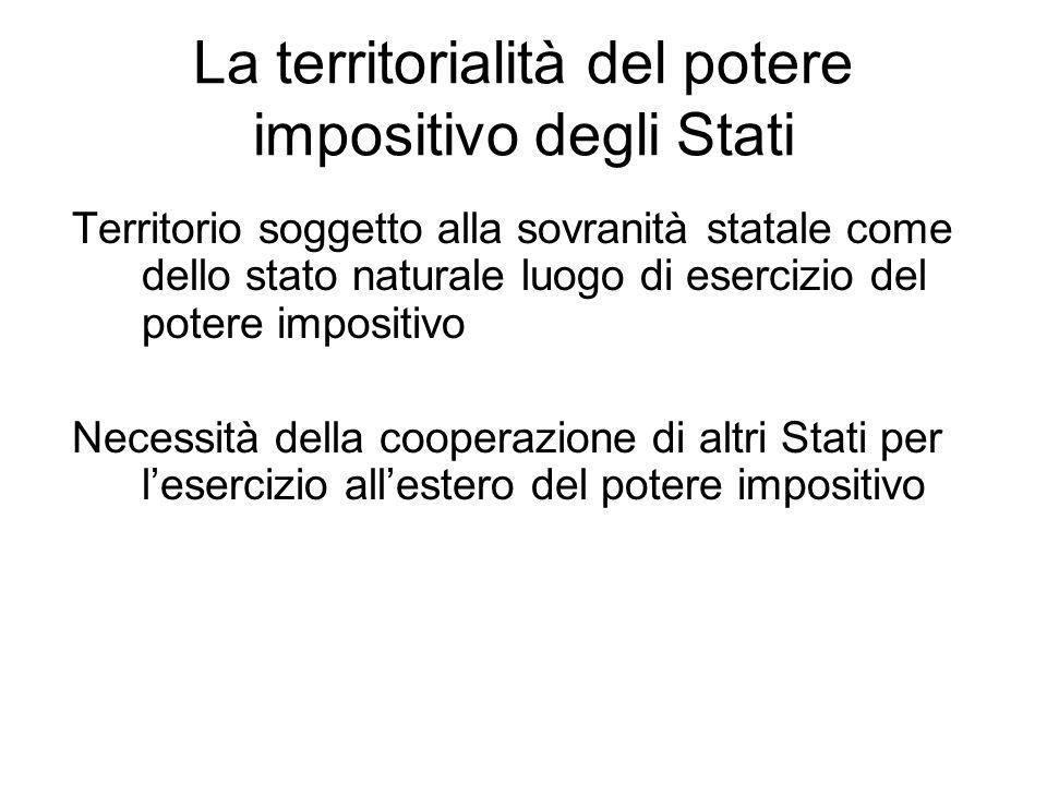La territorialità del potere impositivo degli Stati Territorio soggetto alla sovranità statale come dello stato naturale luogo di esercizio del potere impositivo Necessità della cooperazione di altri Stati per l'esercizio all'estero del potere impositivo