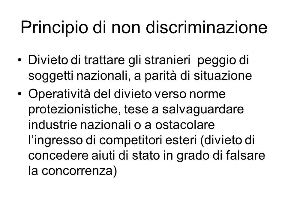 Principio di non discriminazione Divieto di trattare gli stranieri peggio di soggetti nazionali, a parità di situazione Operatività del divieto verso