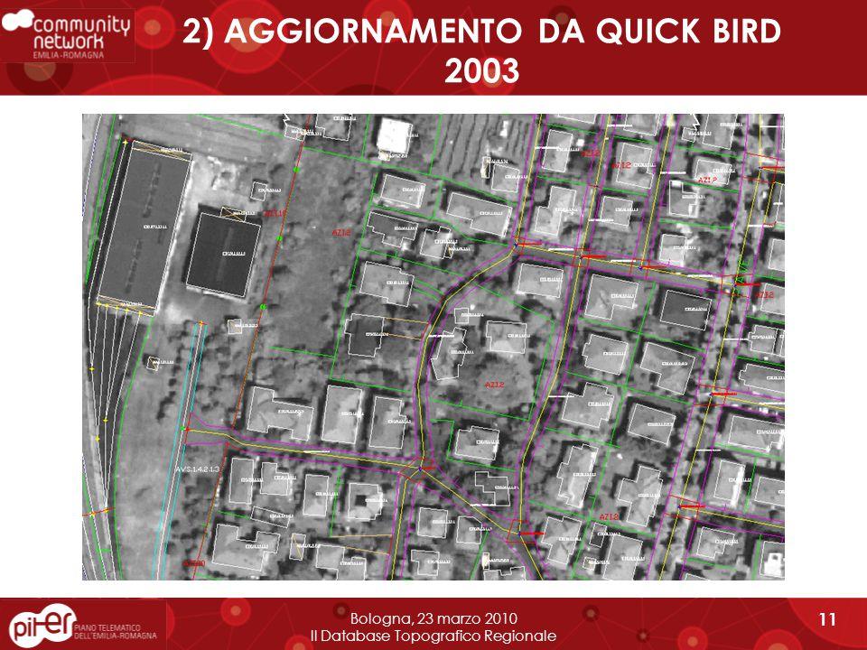2) AGGIORNAMENTO DA QUICK BIRD 2003 Bologna, 23 marzo 2010 Il Database Topografico Regionale 11