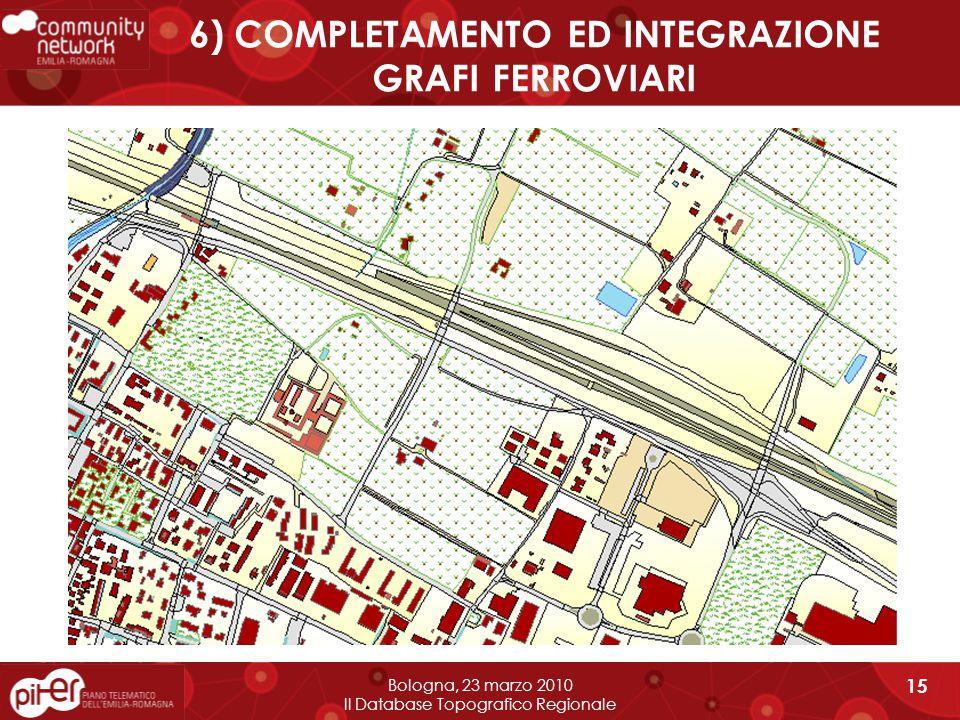 6) COMPLETAMENTO ED INTEGRAZIONE GRAFI FERROVIARI Bologna, 23 marzo 2010 Il Database Topografico Regionale 15