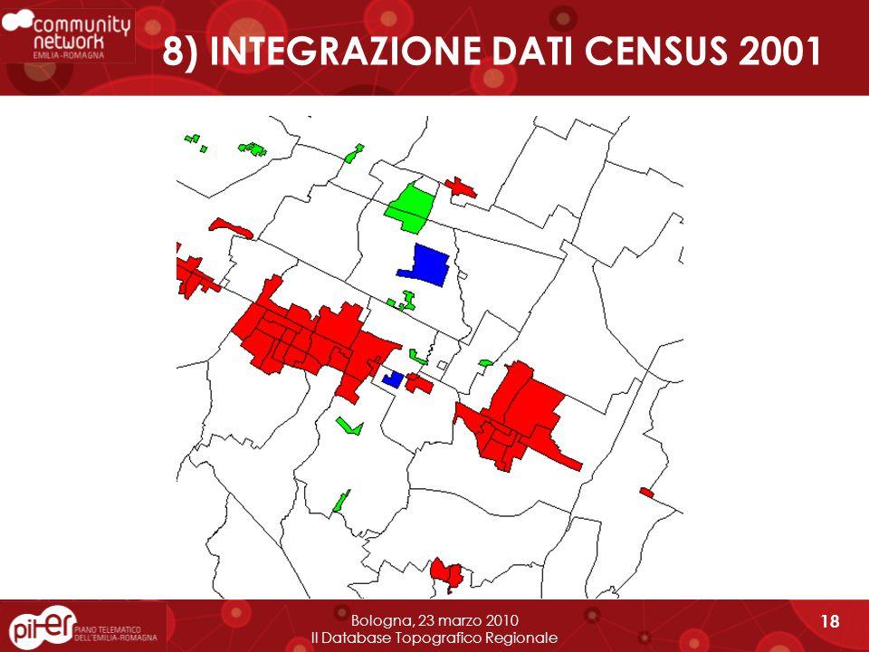 8) INTEGRAZIONE DATI CENSUS 2001 Bologna, 23 marzo 2010 Il Database Topografico Regionale 18