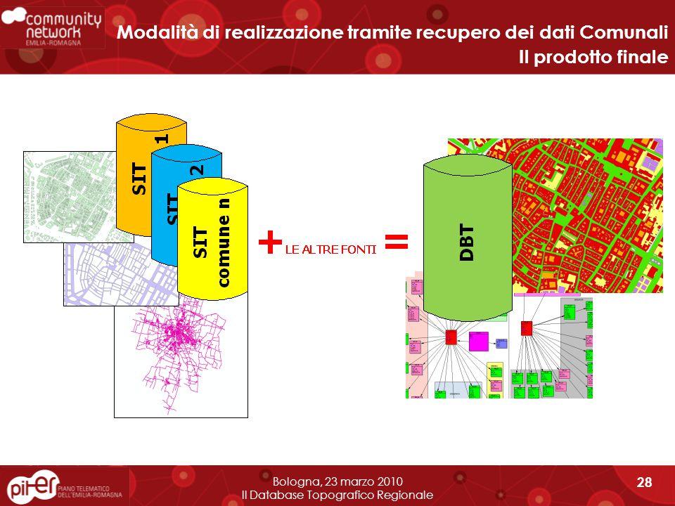 Bologna, 23 marzo 2010 Il Database Topografico Regionale 28 Modalità di realizzazione tramite recupero dei dati Comunali Il prodotto finale