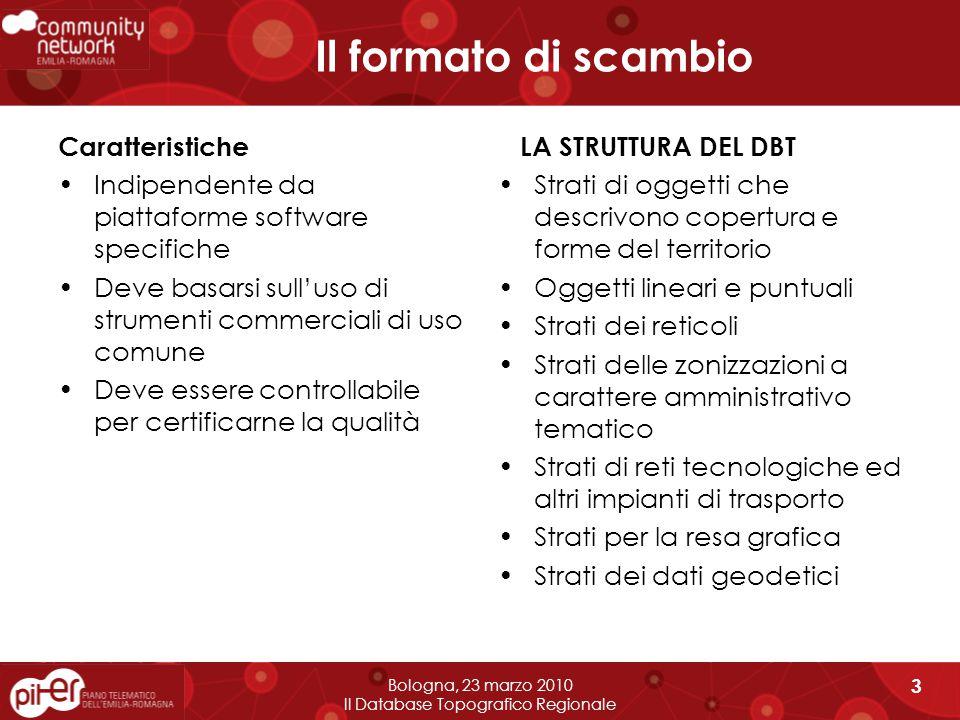 IL FORMATO DI SCAMBIO Bologna, 23 marzo 2010 Il Database Topografico Regionale 4