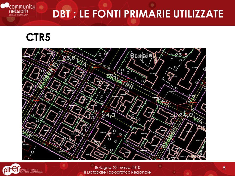 Bologna, 23 marzo 2010 Il Database Topografico Regionale 26 Modalità di realizzazione tramite recupero dei dati Comunali Versione preliminare – Le attività