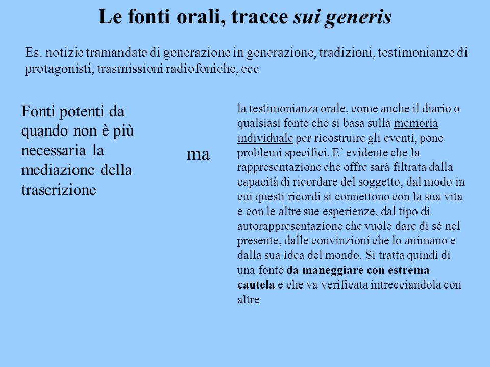 Le fonti orali, tracce sui generis la testimonianza orale, come anche il diario o qualsiasi fonte che si basa sulla memoria individuale per ricostruir