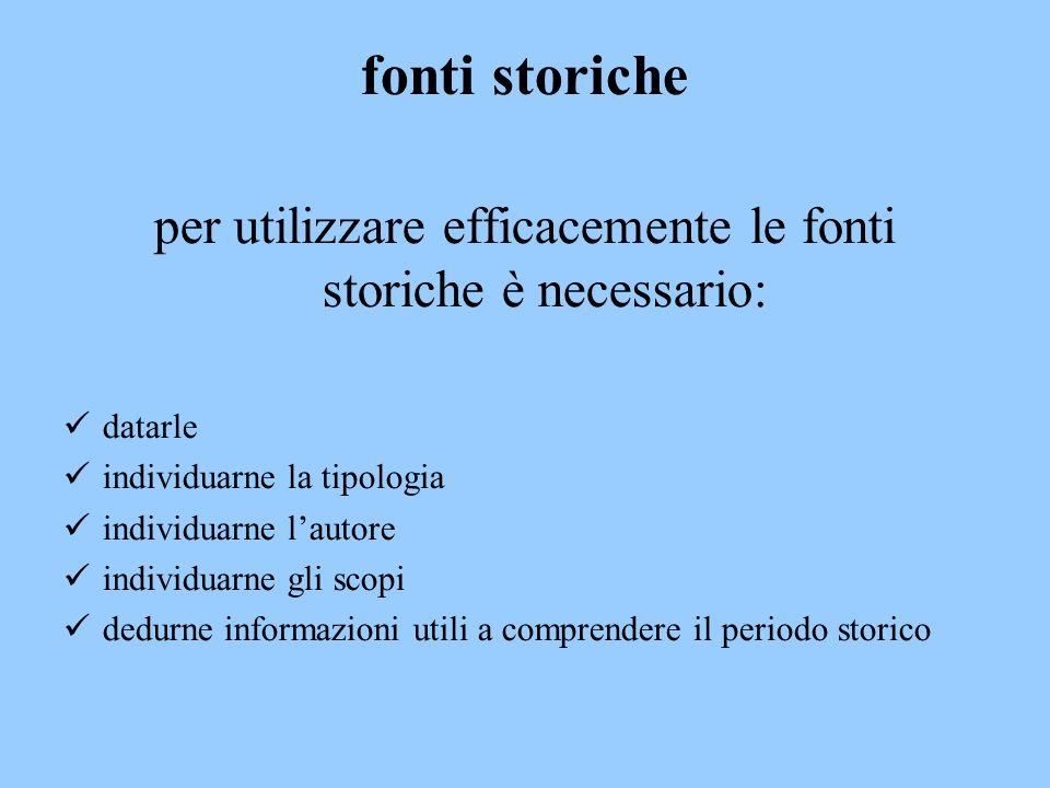 fonti storiche per utilizzare efficacemente le fonti storiche è necessario: d atarle i ndividuarne la tipologia i ndividuarne l'autore i ndividuarne g