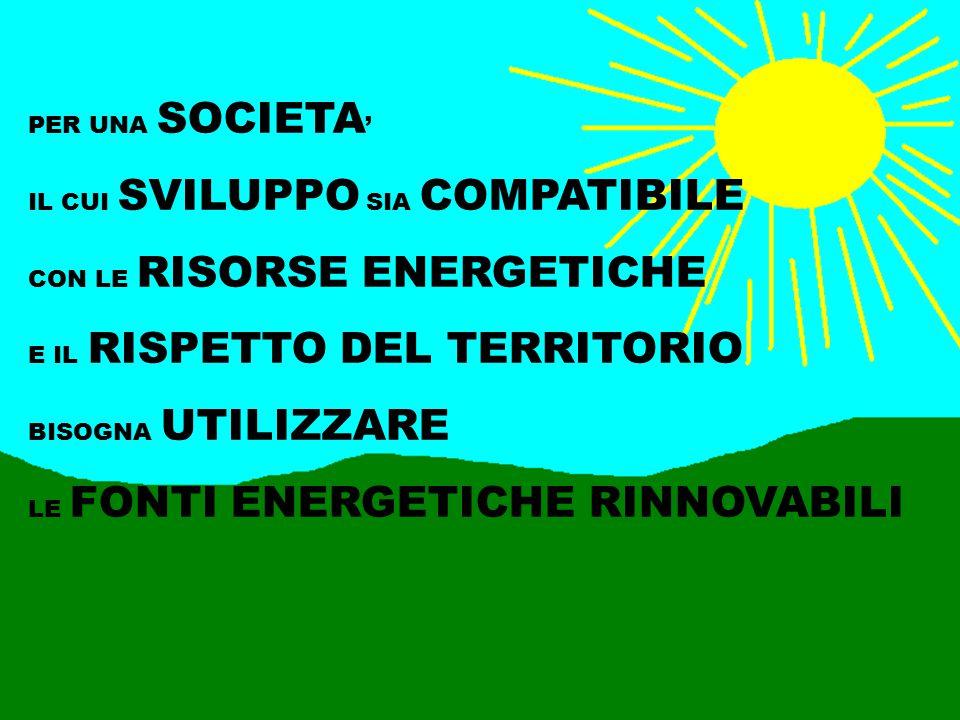 PER UNA SOCIETA ' IL CUI SVILUPPO SIA COMPATIBILE CON LE RISORSE ENERGETICHE E IL RISPETTO DEL TERRITORIO BISOGNA UTILIZZARE LE FONTI ENERGETICHE RINN