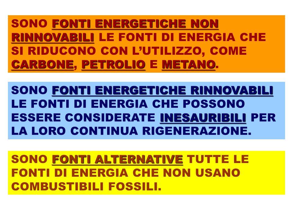 FONTI ENERGETICHE RINNOVABILI ENERGIA SOLARE ENERGIA EOLICA ENERGIA IDROELETTRICA ENERGIA DALLE BIOMASSE ENERGIA GEOTERMICA ENERGIA DALL'OCEANO