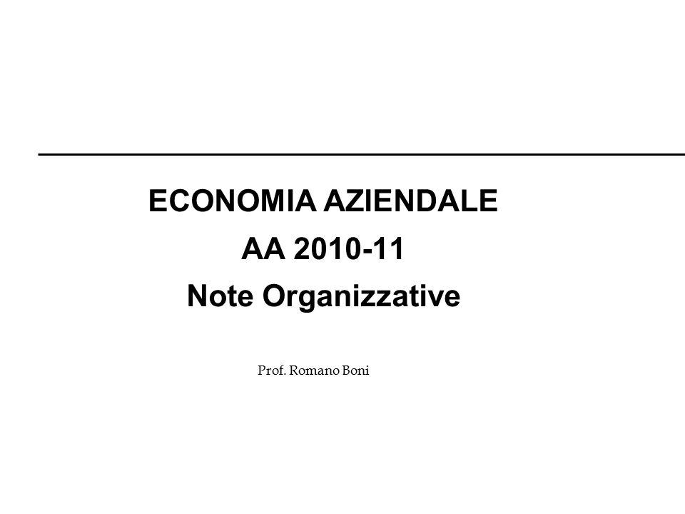 Prof. Romano Boni ECONOMIA AZIENDALE AA 2010-11 Note Organizzative