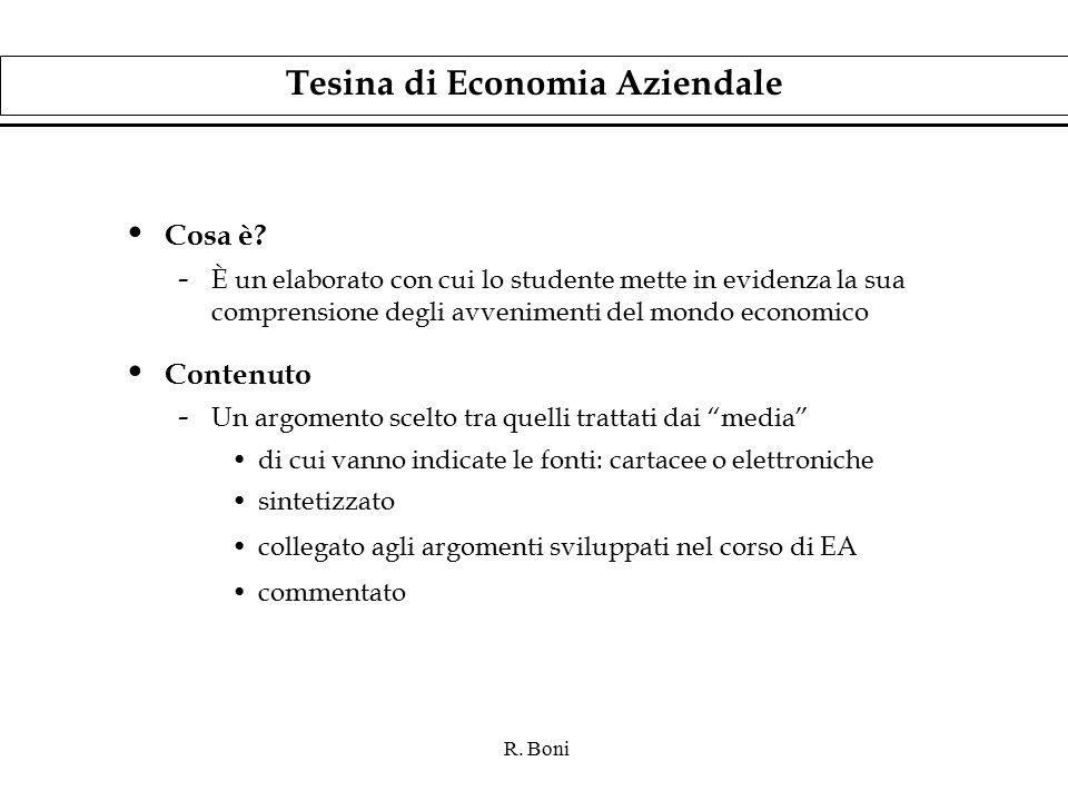 R. Boni Tesina di Economia Aziendale Cosa è.