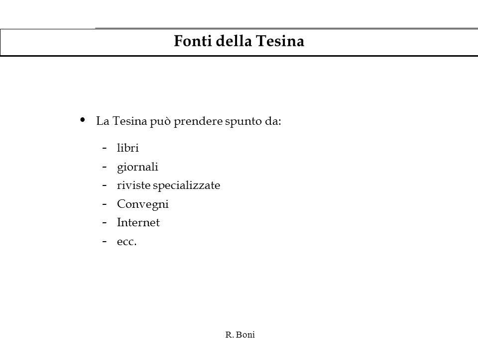 R. Boni Fonti della Tesina La Tesina può prendere spunto da: - libri - giornali - riviste specializzate - Convegni - Internet - ecc.