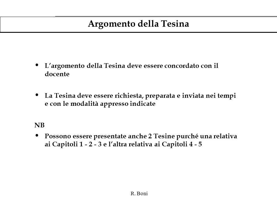 R. Boni Argomento della Tesina L'argomento della Tesina deve essere concordato con il docente La Tesina deve essere richiesta, preparata e inviata nei