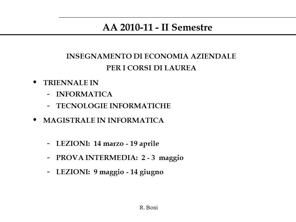 R. Boni AA 2010-11 - II Semestre INSEGNAMENTO DI ECONOMIA AZIENDALE PER I CORSI DI LAUREA TRIENNALE IN - INFORMATICA - TECNOLOGIE INFORMATICHE MAGISTR