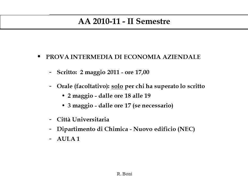 R. Boni AA 2010-11 - II Semestre PROVA INTERMEDIA DI ECONOMIA AZIENDALE - Scritto: 2 maggio 2011 - ore 17,00 - Orale (facoltativo): solo per chi ha su