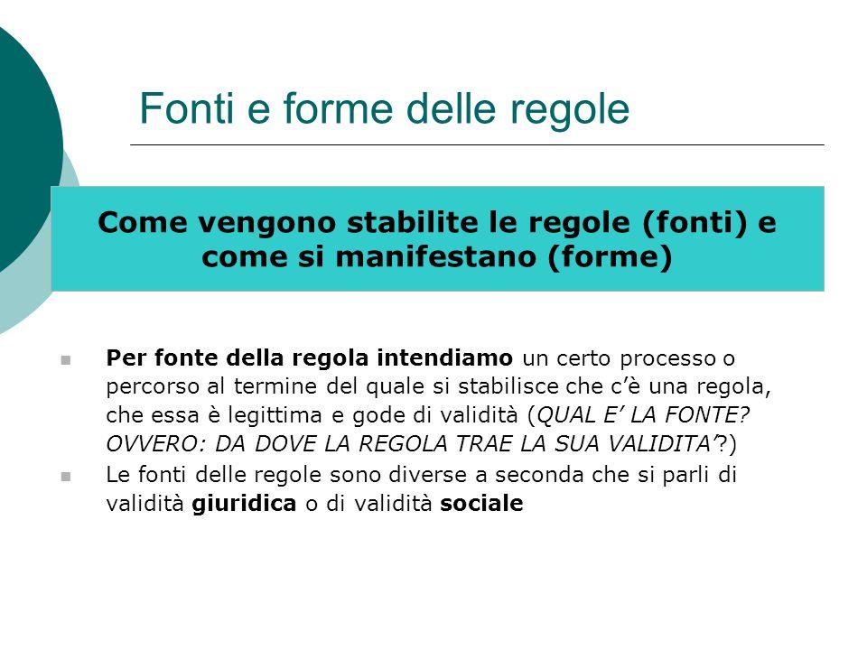 Fonti e forme delle regole Come vengono stabilite le regole (fonti) e come si manifestano (forme) Per fonte della regola intendiamo un certo processo
