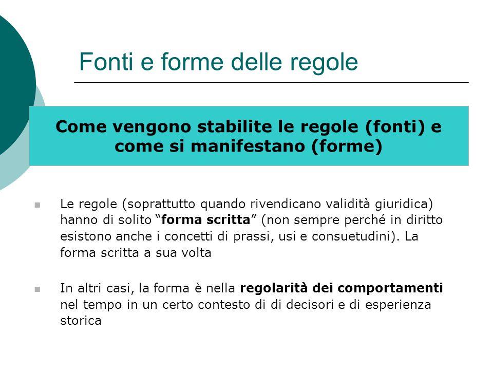 Fonti e forme delle regole Come vengono stabilite le regole (fonti) e come si manifestano (forme) Le regole (soprattutto quando rivendicano validità g