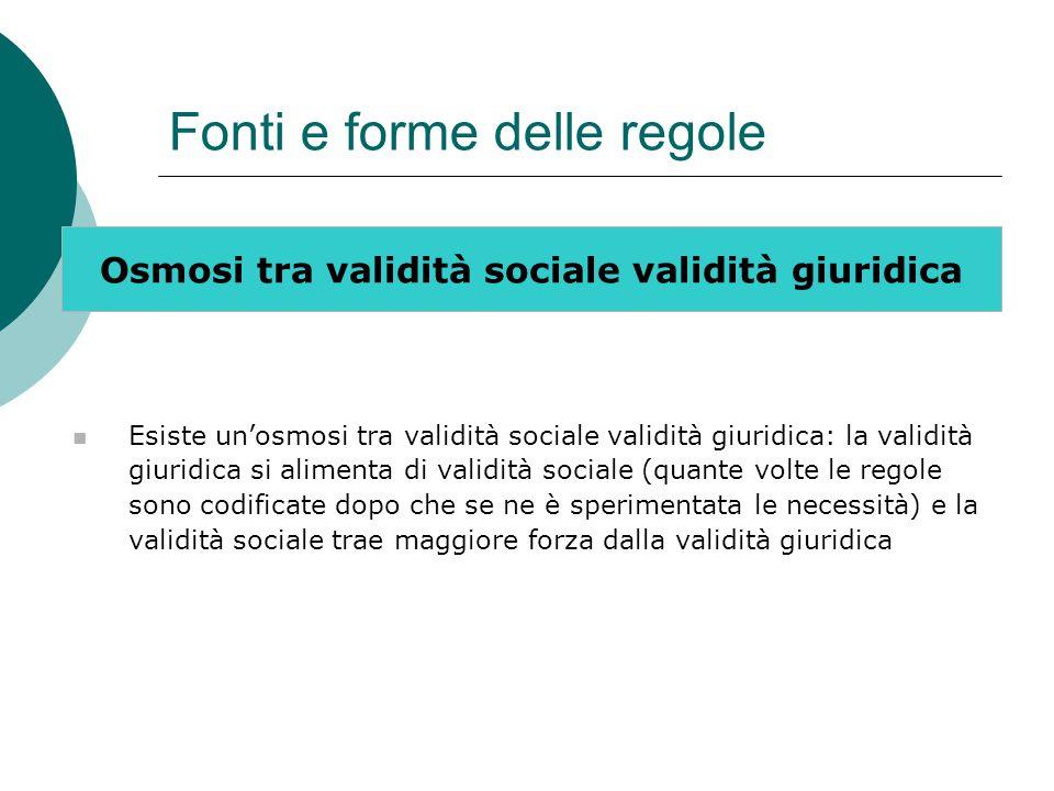 Fonti e forme delle regole Osmosi tra validità sociale validità giuridica Esiste un'osmosi tra validità sociale validità giuridica: la validità giurid