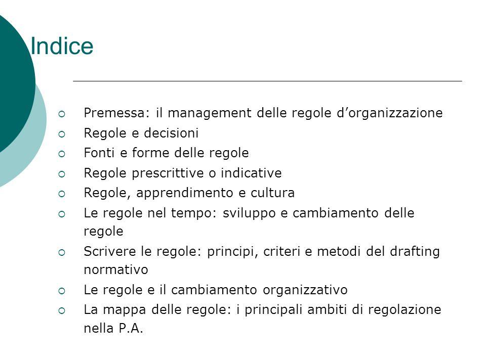 Indice  Premessa: il management delle regole d'organizzazione  Regole e decisioni  Fonti e forme delle regole  Regole prescrittive o indicative 