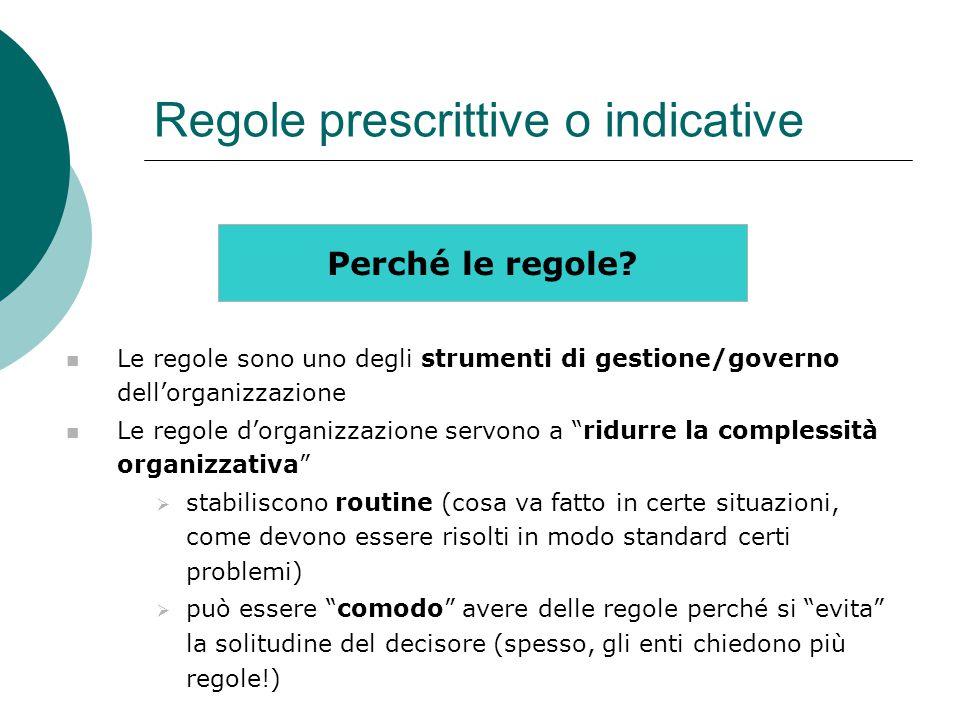Regole prescrittive o indicative Perché le regole? Le regole sono uno degli strumenti di gestione/governo dell'organizzazione Le regole d'organizzazio