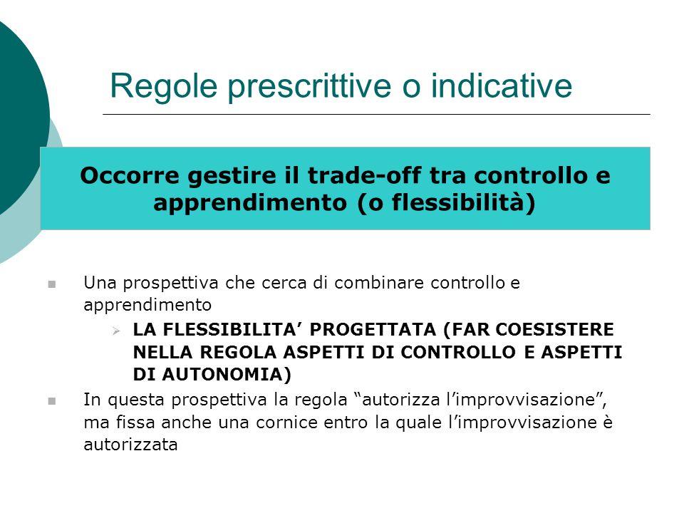 Regole prescrittive o indicative Occorre gestire il trade-off tra controllo e apprendimento (o flessibilità) Una prospettiva che cerca di combinare co
