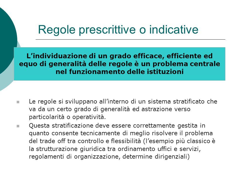 Regole prescrittive o indicative L'individuazione di un grado efficace, efficiente ed equo di generalità delle regole è un problema centrale nel funzi