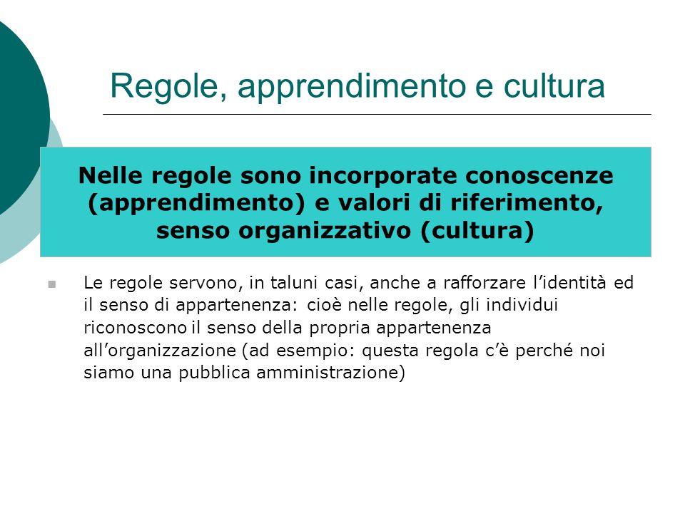 Regole, apprendimento e cultura Nelle regole sono incorporate conoscenze (apprendimento) e valori di riferimento, senso organizzativo (cultura) Le regole servono, in taluni casi, anche a rafforzare l'identità ed il senso di appartenenza: cioè nelle regole, gli individui riconoscono il senso della propria appartenenza all'organizzazione (ad esempio: questa regola c'è perché noi siamo una pubblica amministrazione)