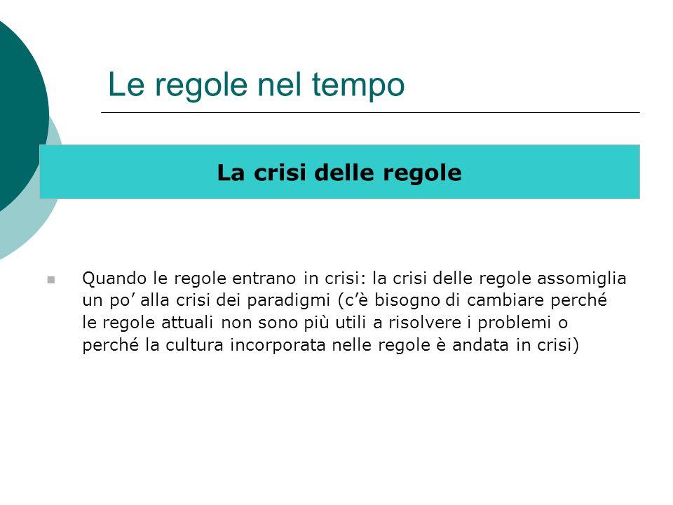 Le regole nel tempo La crisi delle regole Quando le regole entrano in crisi: la crisi delle regole assomiglia un po' alla crisi dei paradigmi (c'è bis