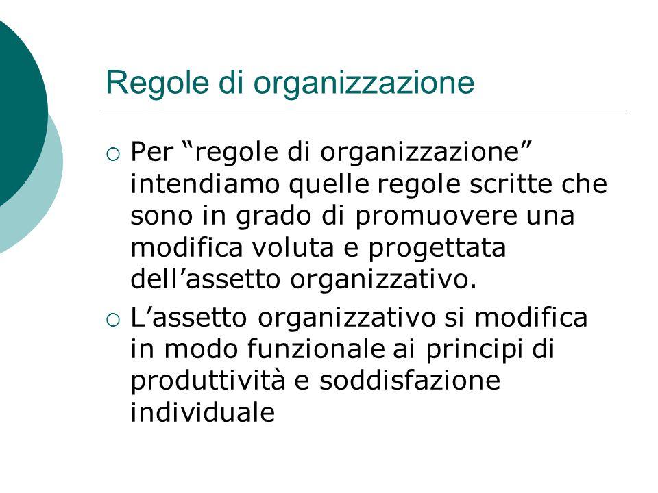 Regole di organizzazione  Per regole di organizzazione intendiamo quelle regole scritte che sono in grado di promuovere una modifica voluta e progettata dell'assetto organizzativo.