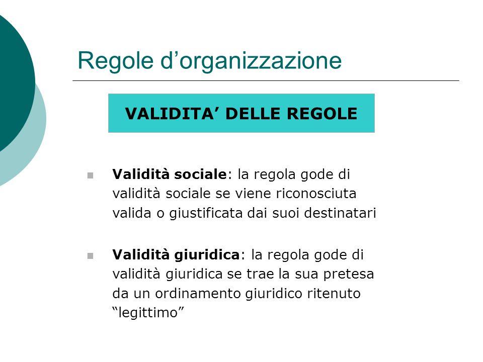 Regole d'organizzazione VALIDITA' DELLE REGOLE Validità sociale: la regola gode di validità sociale se viene riconosciuta valida o giustificata dai suoi destinatari Validità giuridica: la regola gode di validità giuridica se trae la sua pretesa da un ordinamento giuridico ritenuto legittimo
