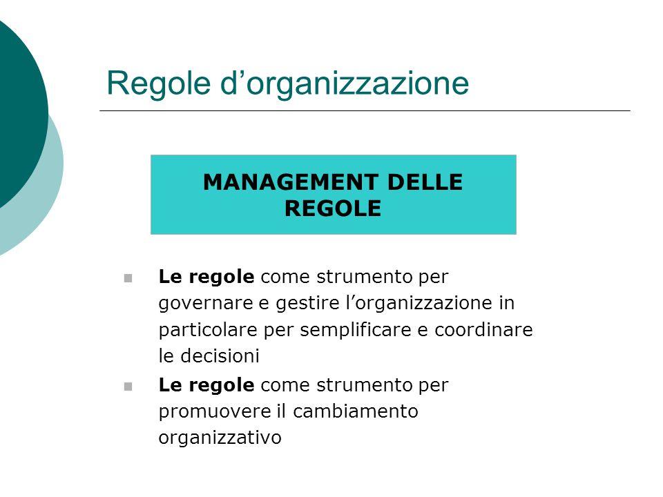 Regole d'organizzazione MANAGEMENT DELLE REGOLE Le regole come strumento per governare e gestire l'organizzazione in particolare per semplificare e coordinare le decisioni Le regole come strumento per promuovere il cambiamento organizzativo