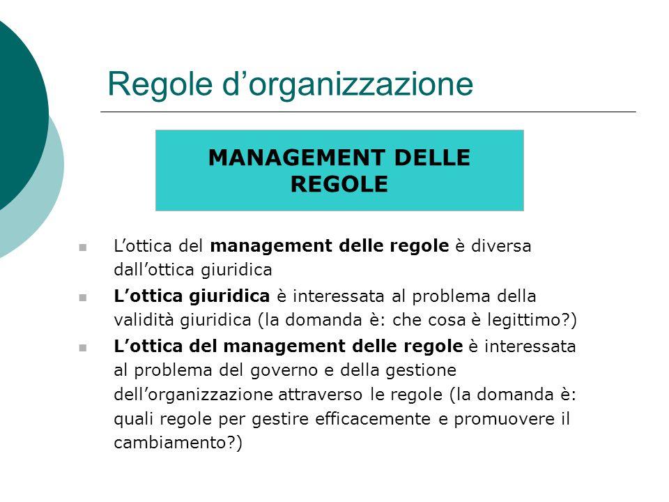 Regole d'organizzazione MANAGEMENT DELLE REGOLE L'ottica del management delle regole è diversa dall'ottica giuridica L'ottica giuridica è interessata al problema della validità giuridica (la domanda è: che cosa è legittimo ) L'ottica del management delle regole è interessata al problema del governo e della gestione dell'organizzazione attraverso le regole (la domanda è: quali regole per gestire efficacemente e promuovere il cambiamento )
