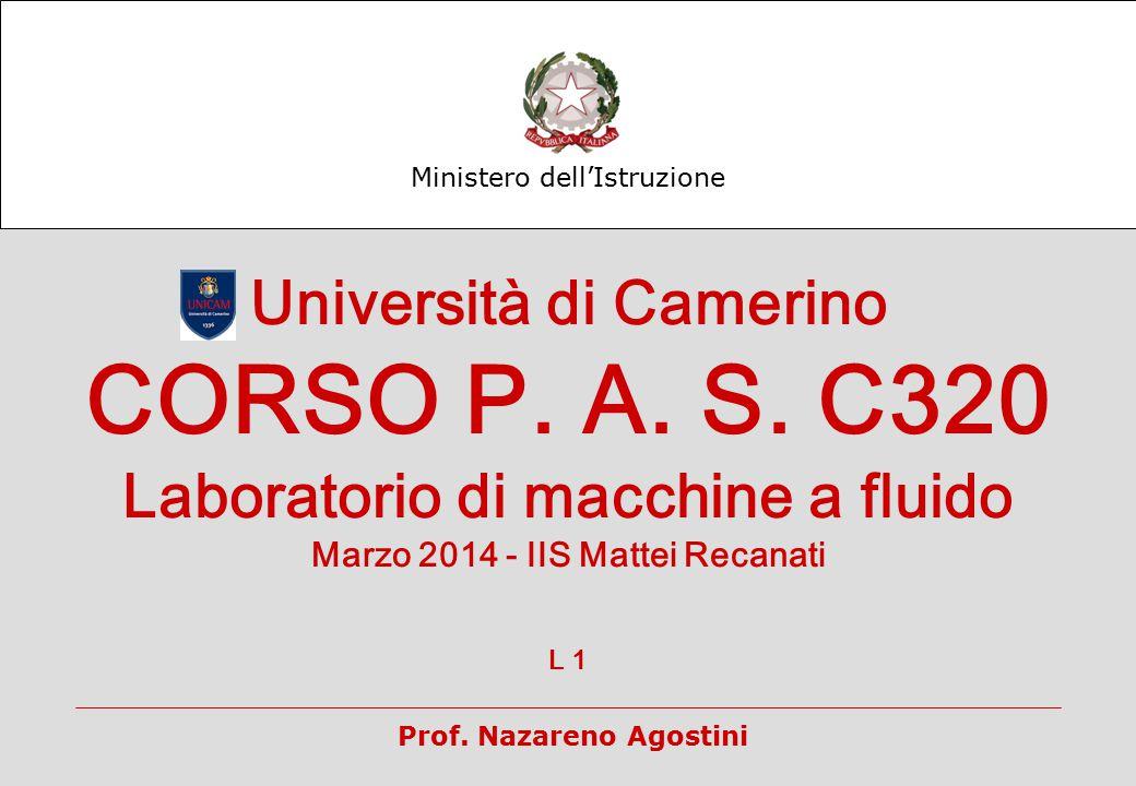 Ministero dell'Istruzione Università di Camerino CORSO P. A. S. C320 Laboratorio di macchine a fluido Marzo 2014 - IIS Mattei Recanati L 1 Prof. Nazar